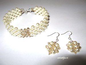 "Bijuterii set ""Gold Cream"", Swarovski® Elements"