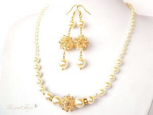 "Bijuterii set ""Ivory Gold Glow"", Swarovski Elements"