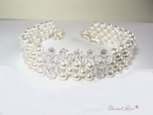 "Bratara ""Ivory Square"", Swarovski Elements"