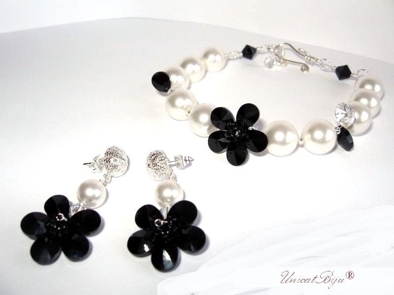 bijuterii cristale swarovski, bratara statement perle, audrey hepburn, bijuterii mireasa
