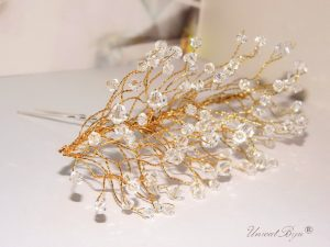 "Ac de par ""Gold Crystal"", Swarovski Elements"