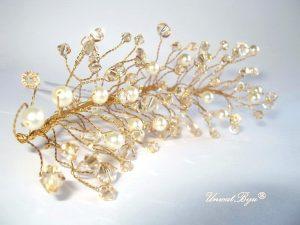 "Ac de par ""Gold Pearl"", Swarovski Elements"