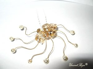 "Ac de par ""Gold Heart"", Swarovski Elements"