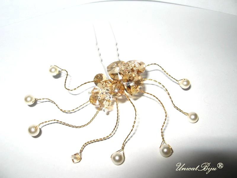 accesoriu par mireasa, ac de par perle, bijuterii mireasa swarovski, unicatbiju