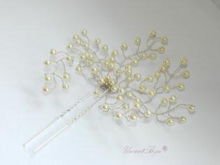 """Ac de par """"Ivory Blossom"""", Swarovski Elements"""
