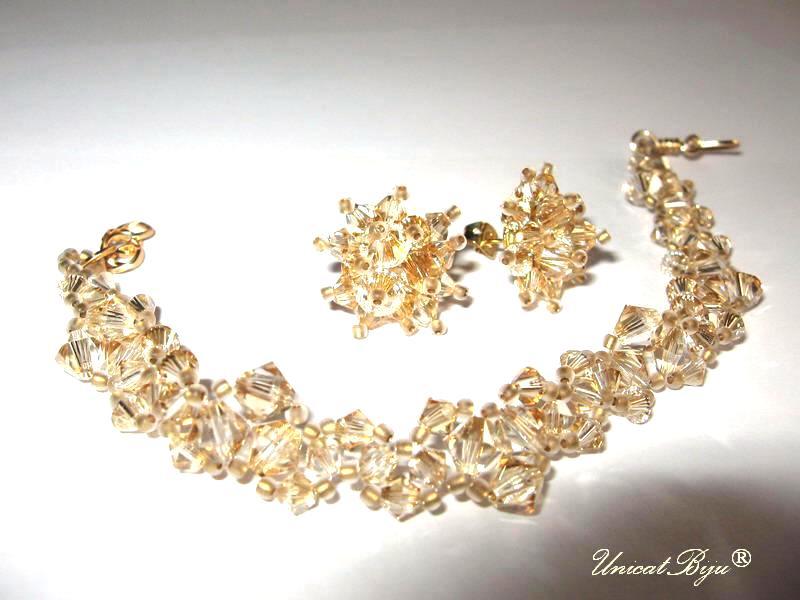 bijuterii mireasa aurii, bijuterii swarovski, unicatbiju