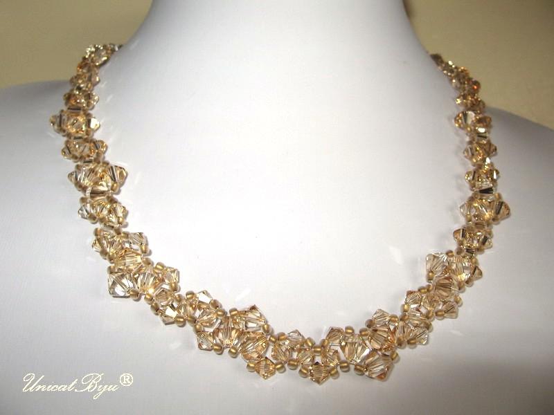 bijuterii mireasa aurii, swarovski, unicatbiju