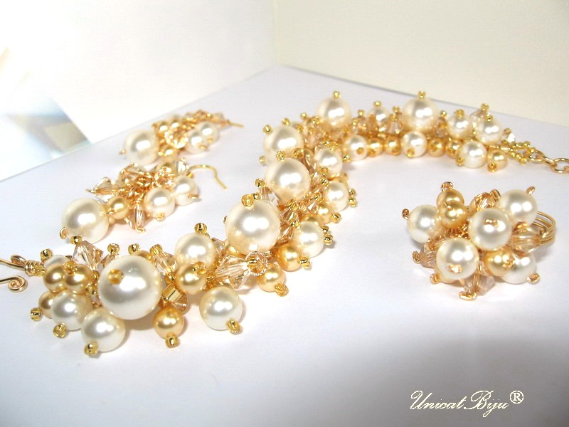 bijuterii mireasa, bratara, cercei, inel, perle, cristale swarovski, crem, aurit, unicatbiju