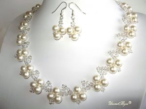 "Bijuterii set ""White Luxury"", Swarovski Elements"