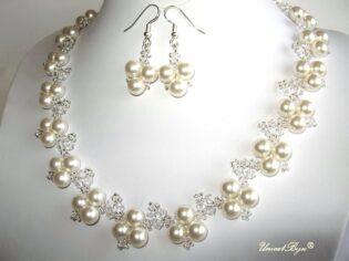 "Bijuterii set ""White Luxury"", Swarovski Elements"