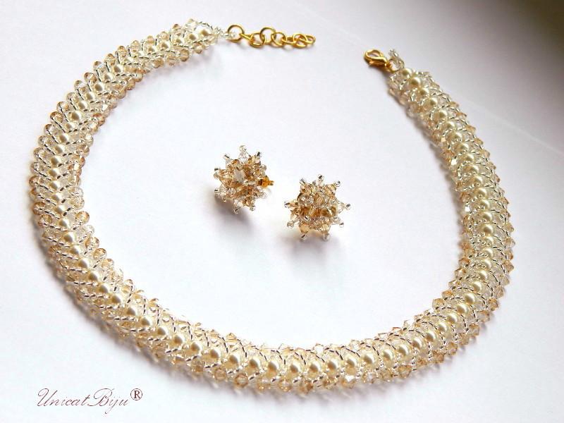 bijuterii mireasa, colier cristale swarovski, bijuterii perle, crem, ivory, unicatbiju, accesorii aurite mireasa
