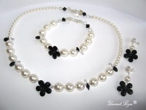 "Bijuterii set ""Audrey Pearl"", Swarovski Elements"