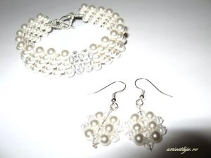 "Bijuterii set ""White Pearl"", Swarovski® Elements"