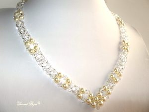 "Bijuterii set ""Ivory Princess"", Swarovski Elements"