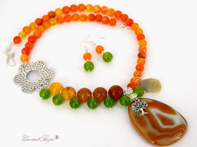 bijuterii semipretioase, agat, jad, argintat, pandantiv, orange, verde, unicatbiju