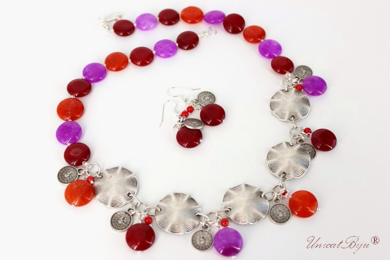 bijuterii semipretioase, jad, accesorii argintate, salba, rosu, mov, orange, unicatbiju