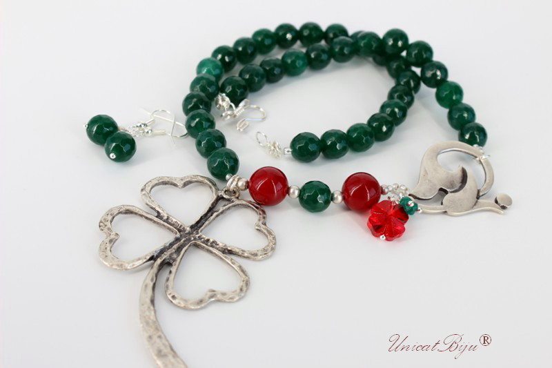 bijuterii semipretioase, jad, aventurin, perle mallorca, cristale swarovski, trifoi, verde, rosu