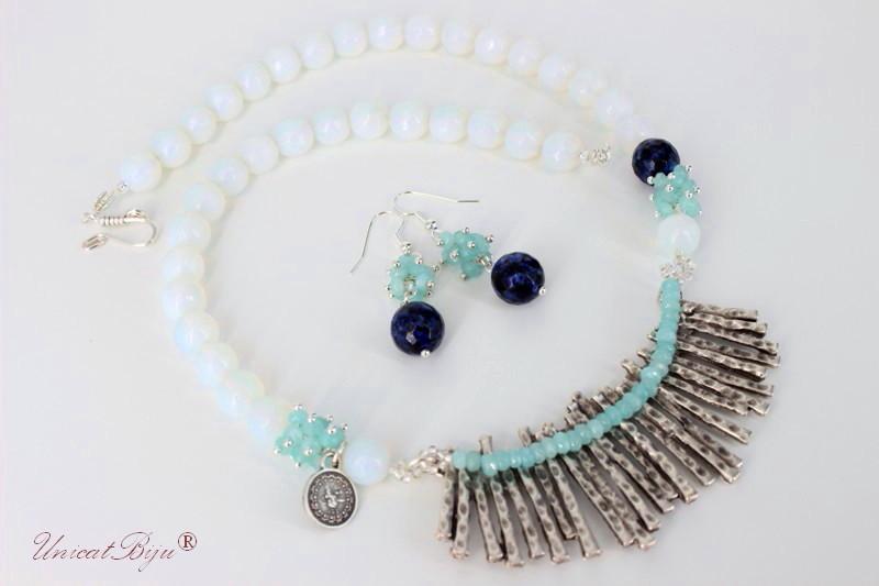 bijuterii semipretioase, opalit, agat, jad microfatetat, argintat, bleu, unicatbiju