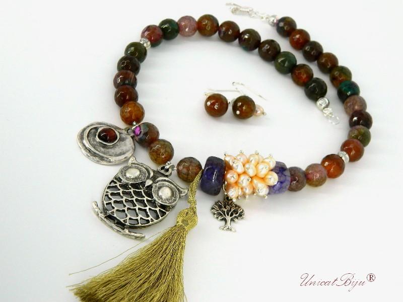 bijuterii set colier, cercei, agat, perle, ametist, ochi de tigru, argintat, maro, mov, unicatbiju