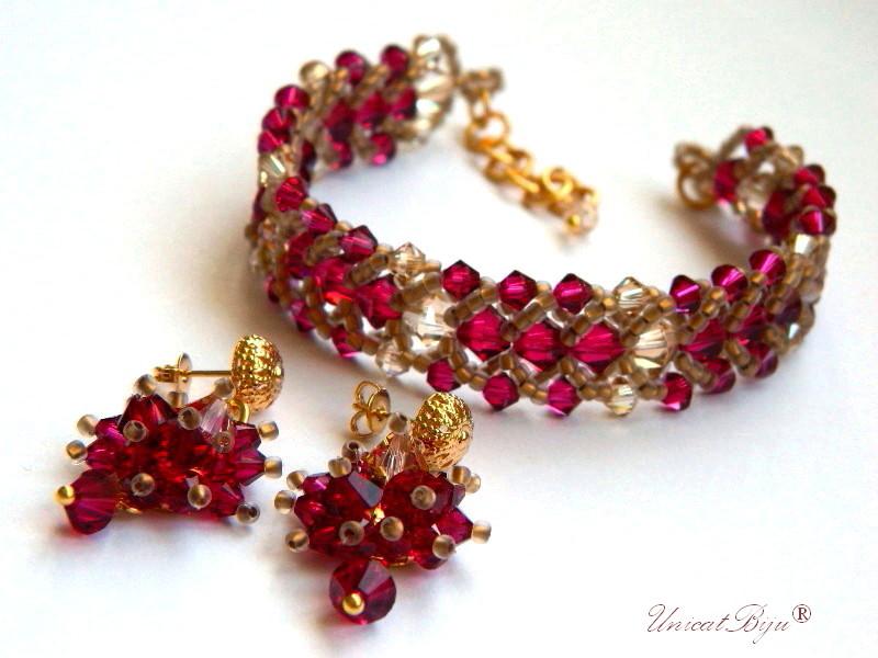 bratara cercei cristale swarovski, bijuterii lux, rubin, unicatbiju, aurit
