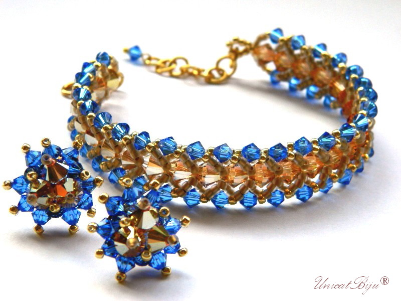 bratara cercei cristale swarovski, bijuterii lux, safir, aurit, metallic sunshine, unicatbiju
