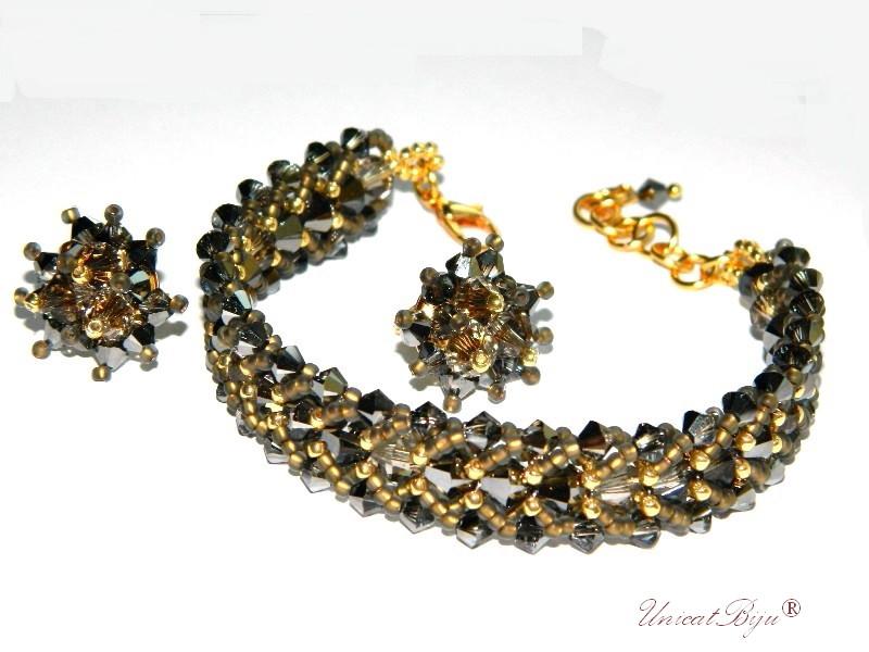 bratara cercei cristale swarovski, bijuterii lux, silver night, aurit, unicatbiju
