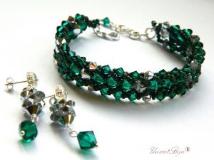 "Bijuterii set ""Emerald Silver"", Swarovski Elements"