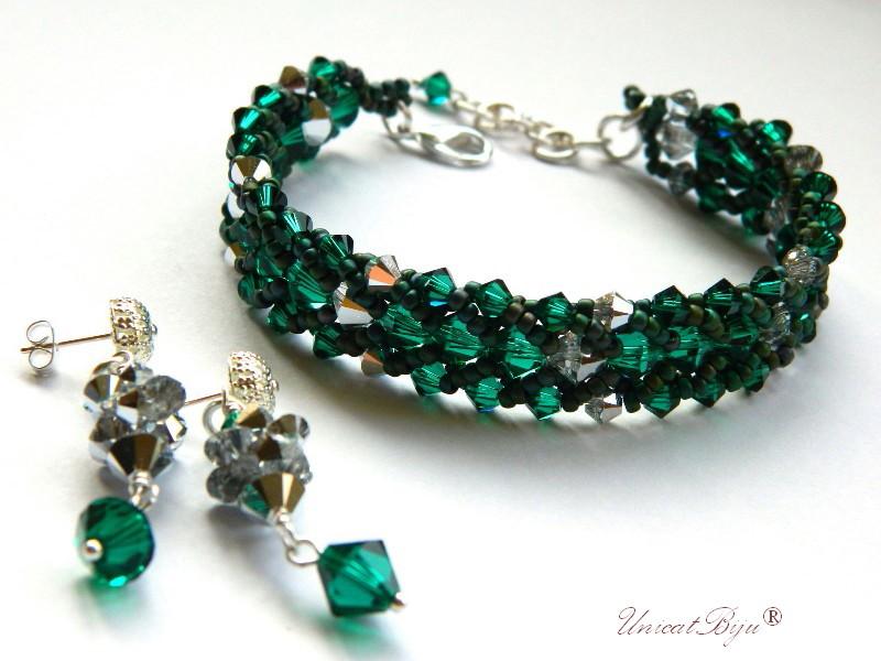 bratara cercei cristale swarovski, smarald, argintat, bijuterii lux, unicatbiju