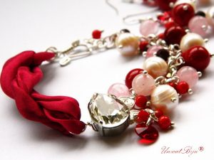"Bijuterii set ""Red Granate"", Swarovski Elements"