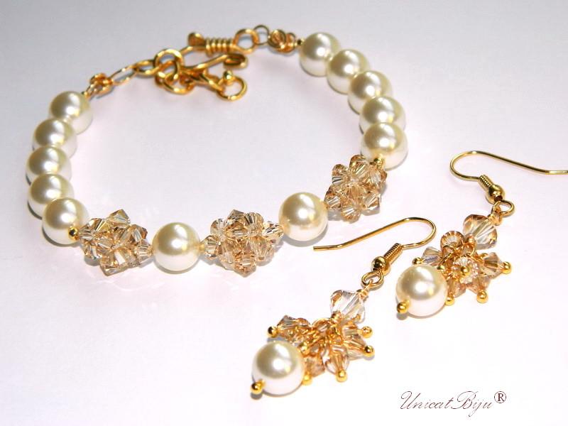 bratara cristale swarovski, bijuterii mireasa perle, accesorii aurite mireasa, unicatbiju[1]