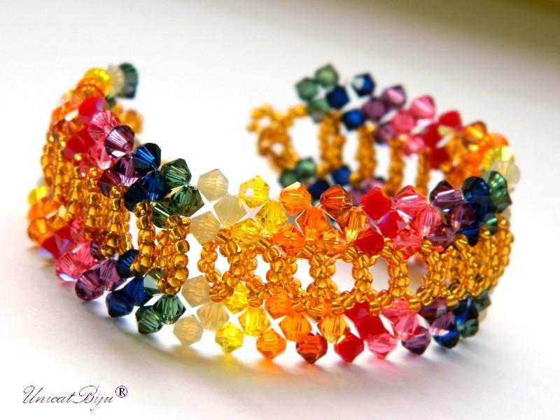 bratara cristale swarovski, bijuterii mireasa, unicatbiju, curcubeu, bijuterii unicat