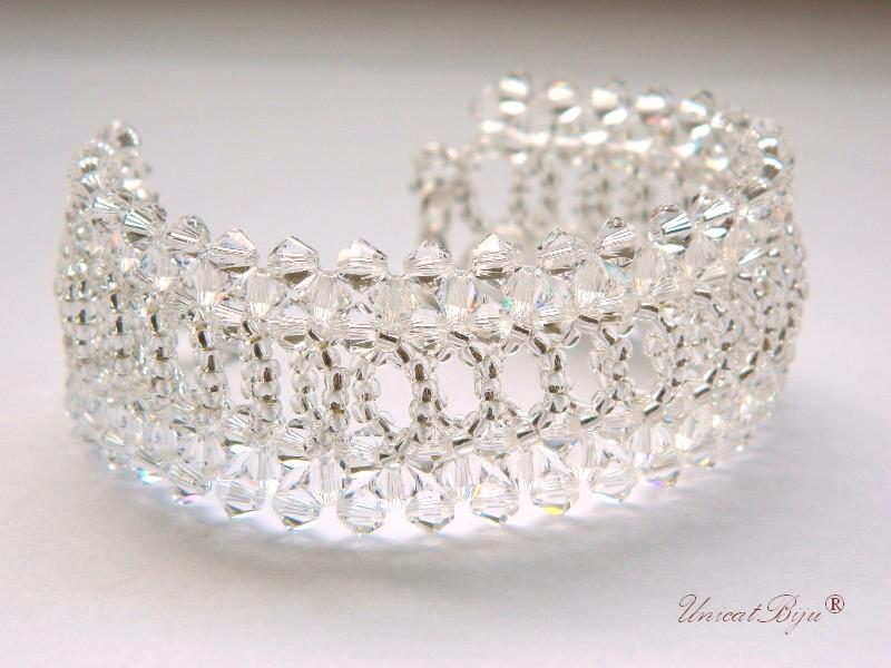 bratara cristale swarovski, bratara mireasa, bijuterii mireasa, unicatbiju, alb argintat