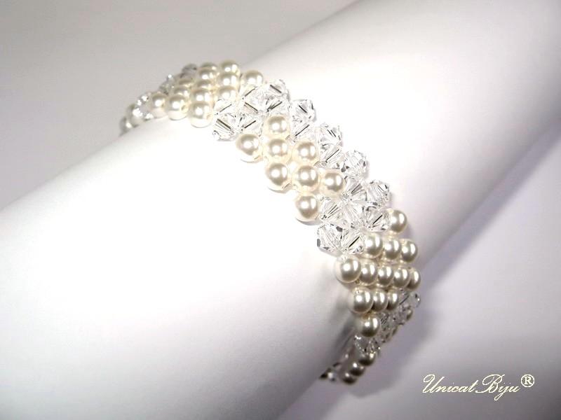 bratara mireasa, bijuterii swarovski, unicatbiju, perle