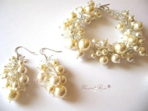 "Bijuterii set ""Creamy"", Swarovski Elements"