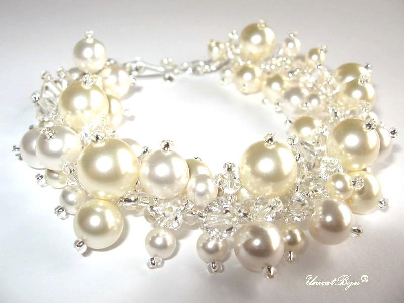 bratara perle mari, bijuterii mireasa, bratara cristale swarovski, unicatbiju
