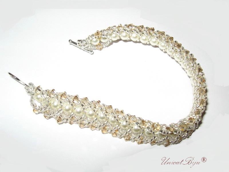 bratara perle mireasa, bijuterii cristale swarovski, unicatbiju,crem, aurit