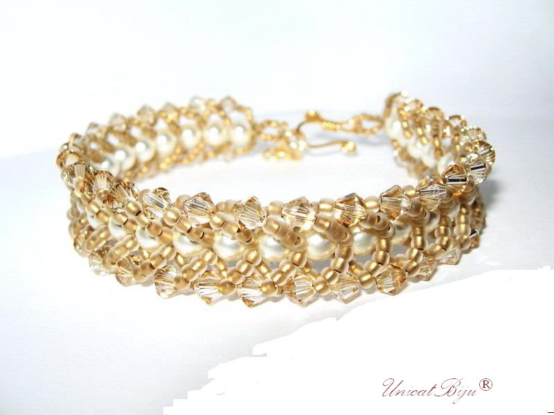 bratara perle mireasa, bijuterii mireasa, bijuterii cristale swarovski, unicatbiju