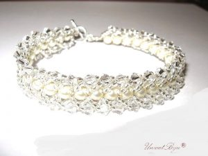 "Bratara ""Cream White"", Swarovski Elements"