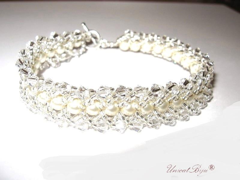 bratara swarovski perle, bijuterii mireasa, unicatbiju