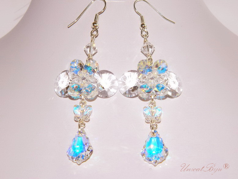 cercei cristale swarovski, bijuterii mireasa, cercei mireasa, unicatbiju