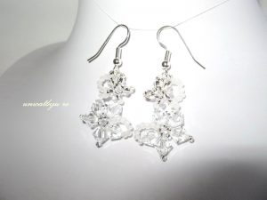 "Cercei ""Bright Snow"", Swarovski Elements"