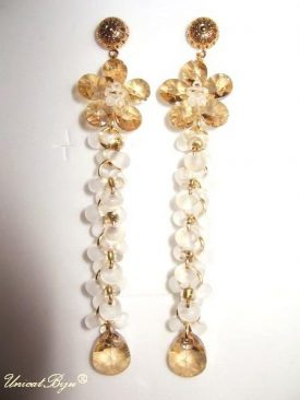 "Cercei ""Gold Flower"", Swarovski Elements"