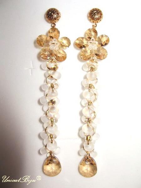 cercei mireasa, floare cristale swarovski, unicatbiju, bijuterii mireasa