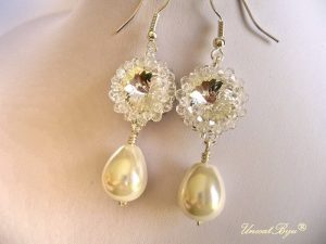 "Cercei ""Pearl Drop"", Swarovski Elements"
