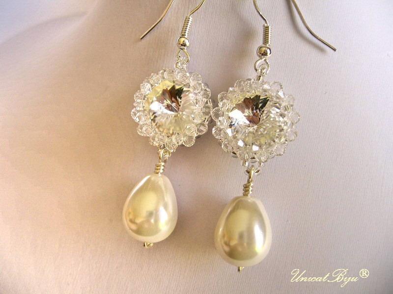 cercei mireasa, perle mallorca, bijuterii swarovski, unicatibiju