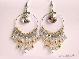 "Cercei ""Gold Rose Patina"", Swarovski Elements"