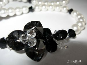 "Colier ""Silver Night Orchid"", Swarovski Elements"