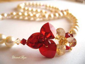 "Colier ""Siam Orchid"", Swarovski Elements"