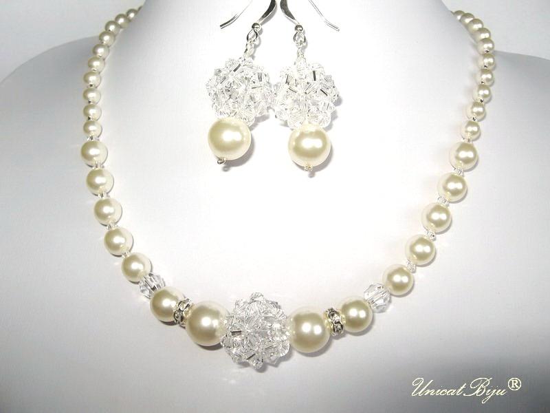colier mireasa perle, bijuterii swarovski, unicatbiju
