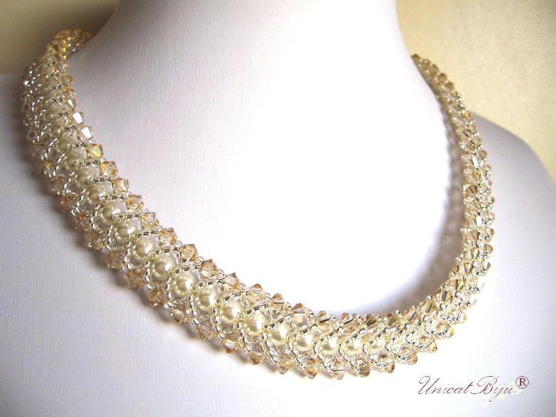 colier mireasa perle swarovski, bijuterii mireasa swarovski, unicatbiju